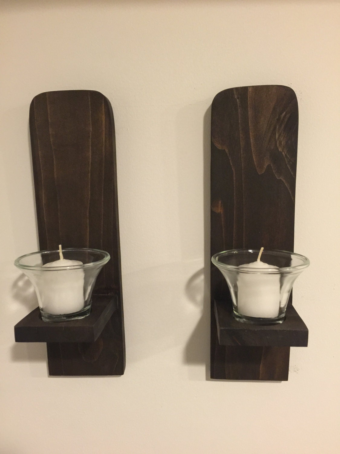 Wall Candle Sconces Etsy : Wall Sconces Pair Wall Candle Holders handmade reclaimed