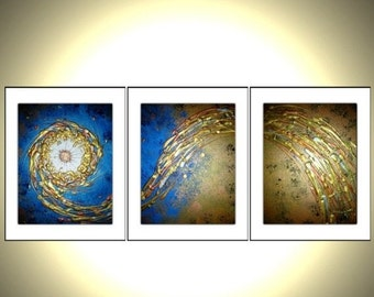 Holiday Sale - 3 8x10 PRINTS With MATTES of Original Modern Abstract Gold Blue Metallic Painting By Dan Lafferty - Midnight Breeze