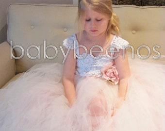 Blush Flower girl dress, flower girl dress, Tulle ballgown - BLUSH - Crochet Dress, Crochet Flower girl dress, flower girl dresses