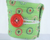 Winter Clearance Coffee Cup Sleeve / Coffee Cup Cozy, fabric quilted reuseable eco friendly : Christmas Trees
