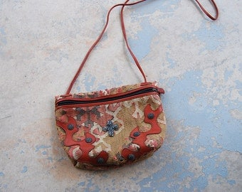 vintage 80s Kilim Purse - 1980s Carlos Falchi Ethnic Tapestry and Brown Leather Shouder Bag