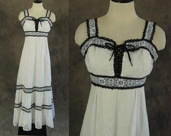 vintage 70s Prairie Dress - 1970s Black and White Floral Maxi Dress - Cotton Gauze Boho Gypsy Hippie Dress Sz XS