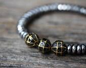 Black Diamond Gold Hematite Bracelet / Bohochic Stacking Bracelet AS SEEN in INSTYLE Bohemian Luxury Bracelet, Diamond Slice Silver Hematite