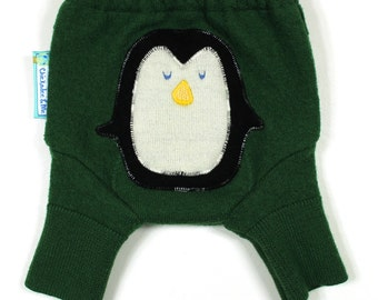 "WOOL SHORTIES - Wool Diaper Cover - ""Perky Penguin"" - X-Small Newborn"