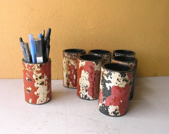 Red White Pencil Holder Metal Pen Holder Pipe Pencil Cup Desk  Accessories Office Organizer Coworker Gift Industrial Gift Brush Holder