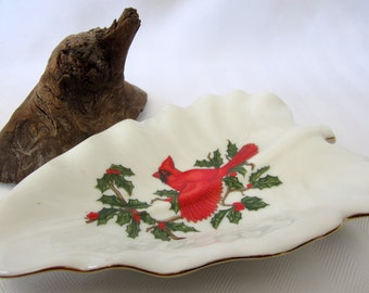 Red Cardinal Lefton China Leaf Plate Dish Gold Vintage Candy Nut Xmas Holly Ivy Christmas Holiday Collectible Hand Painted