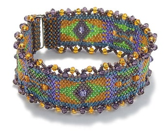 Peyote Bracelet DIY Kit, in Sun Yellow, Lime Green, Lavender, and Taupe