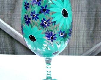Wine Glass Hand Painted, Teal and Purple Flowers, 20 oz Jumbo  Wine Glass