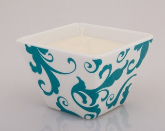 beeLUXE Candles - beeswax blend container candle - Turquoise Swirl Design - bee HEALTHY - beeLUXE