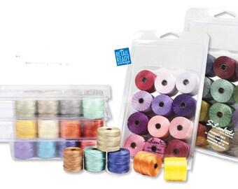 Mixed Colors Super Lon TEX 210 Box Mix No 18 SLon Beading Cord 77 Yard Spools Mixed Bead Thread