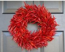 CHRISTMAS WREATH SALE Organic Red Chili Pepper Wreath, Kitchen Centerpiece, Wall Decor, Housewarming Gift, Herb Wreath, Southwest Decor, 16