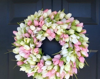 Burlap wreath wreath for door summer wreath by oursentiments - Items Similar To Spring Wreath Tulip Wreath Spring