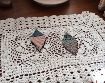Two Available Color-Ways Handmade Bead Earrings Delicate Fringe Abstract Lightweight CHOOSE YOUR SET