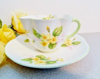 Shelley Primrose Teacup, Shelley Primrose Tea Cup, Collectible Teacup, 1950s Shelley Yellow Teacup, Shelley Dainty Teacup, no 48