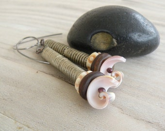 Long Tribal Earrings, Spiral, Shell Earrings, Rustic Bohemian Dangles, Earthy, Skinny Earrings, Primitive Style, Handmade