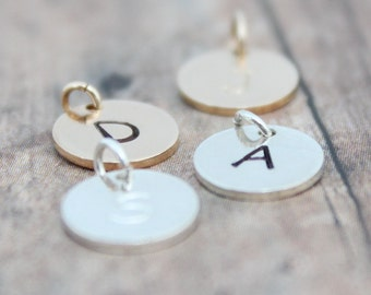 Round Initial Charms, Letter Charms, Hand Stamped Disc Inital Charm, Sterling Silver, 14k Gold Initial Charm, Personalized Initial Charm