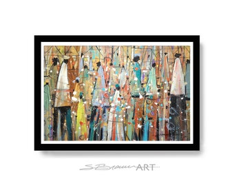 our colorful people watercolor print african american art wall art home decor art