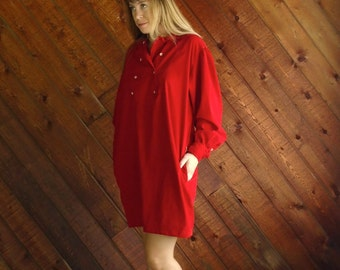Red Corduroy RALPH LAUREN Mini Dress - Vintage 80s - LARGE