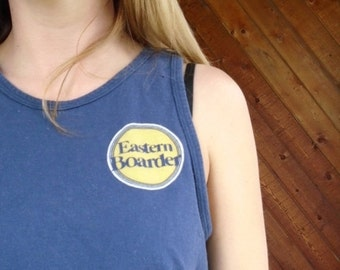 extra 30% off SALE ... Navy EASTERN BOARDER Tank Top Tee - Vintage 90s - Xs S