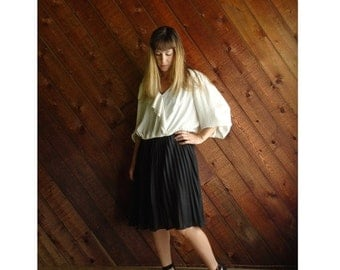extra 25% off SALE ... Pleated Cream and Black Secretary Dress - Vintage 80s - L/XL