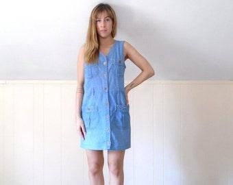 30% off ... Sleeveless Denim Button Down Mini Shift Dress - Vintage 90s - SMALL S