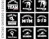 Personalized Gymnastics Car Decal, Gymnastics Mom, Dad, Decal, Sports Decals- CUSTOM Order for J&R