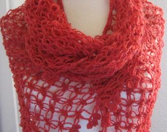 Lacy Shawl, scarf, wrap, garnet header , fancy, love knot, hand crocheted, sooooooo beautiful, new