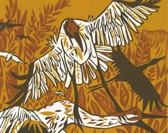 Plane and whooping crane with ultralight woodcut, printmaking, nature inspired