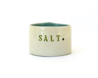 petite hand built  porcelain salt  cellar ...  container ...  vessel  ...  pig