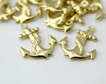 Gold Plated Brass Anchor Puffed Pendant Charms Drops 24mm (12)