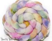 CANDY STORE - Sparkly Violet Angelina, Tussah Silk and Merino Roving Hand Dyed Wool, Combed Top Roving 4.1 oz