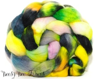 ABSTRACT #5 - Corriedale Hand Painted Wool Roving Combed Top Spinning or Felting Fiber - 4.1 oz