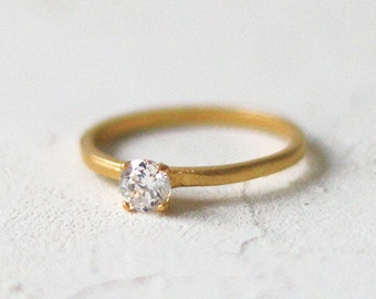 14k Gold Diamond Solitaire Ring, Solitaire Engagement Ring, Simple Diamond Ring, Wedding Ring, Bridal Ring, Promise Ring, Anniversary