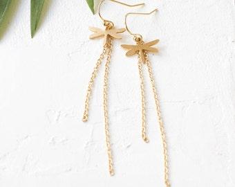 Dragonfly Earrings, Chain Earrings, Dangle Earrings, Signature Earrings, Dragonfly Charm Earrings. Gold Plated Earrings. Dainty Earrings