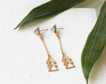 Venezuela Earrings, Triangle Earrings, Dainty Earrings, Laminated Jewelry, Dangle Earrings, Delicate Earrings, Drop Earrings