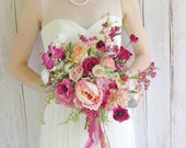Pretty Pinks Summer Garden Wedding Bouquet, with Matching Boutonniere, Ready to Ship