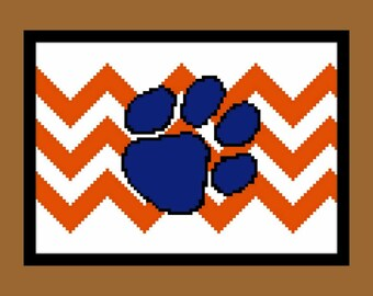 Chevron Pawprint - counted cross stitch chart - downloadable file