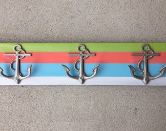 beach towel rack striped coral anchors beachhousedreamshome outdoor shower cottage pool hot tub bathroom renovation wedding Outer Banks OBX