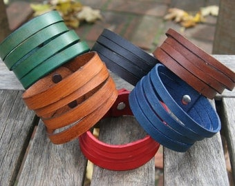 Quad Split Leather Bracelet Cuff