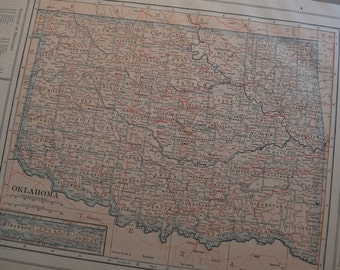 1914 State Map Oklahoma - Vintage Antique Map Great for Framing 100 Years Old