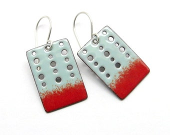 Turquoise Blue and Red Earrings - Modern Rectangle Earrings with Turquoise Blue and Red Enamel - Handmade Enamel Jewelry