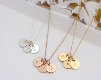 "Three 3/8"" Initial Disc Necklace, Silver Initial Necklace, Rose Gold Filled Initial Necklace, Gold Silver Personalized Necklace, Three Discs"