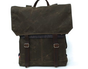 Tall Boy Waxed Canvas Backpack w/ Padded Straps / Navy Herringbone Recycled Wool