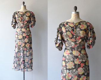 Floral Jubilee dress | vintage 1930s floral dress | floral chiffon 30s gown