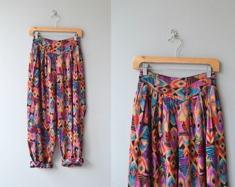 Ojai rayon pants | 1980s rayon harem pants | colorful geometric slouchy pants