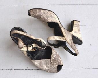 Python peeptoes | vintage 1940s shoes | snakeskin 40s peeptoe heels 6.5