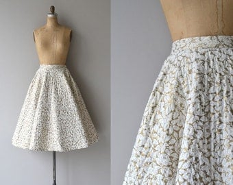 Gilded Leaf skirt | vintage 1950s skirt | quilted 50s circle skirt