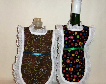 Dish Soap Apron, Wine Bottle, Detergent Cover, Eyelet Lace, Modern Fabrics, Brown Swirls, Black Baubles, Kitchen Décor, Folksy Country