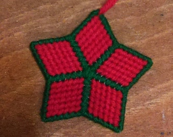 Star Ornament: Red with Green outline