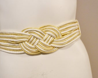 Vintage Belt Ivory and Gold Braided Stretch